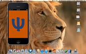 Lion desktop with Psi example app in iOS Simulator
